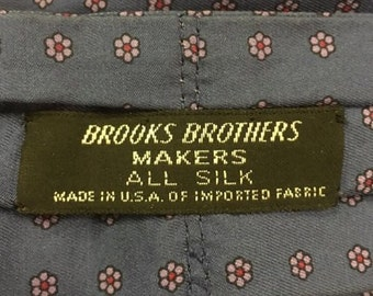 Vintage Brooks Brothers Makers Silk Ascot Steel Blue Floral Dot Paisley