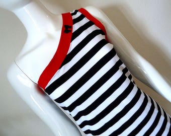 Striped with Red • One Shoulder Top • Medium • Black and White