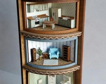 Dollhouse miniature 144th corner shelf unit kit