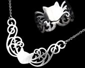 Sterling Silver Cat Gift Set - Cute Little Lace Scrolls Silhouette Ring and Necklace - WANDERING WHISKERS