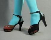 ON HOLD for Crystalball1943: 40s Platform Heels Vintage Shoes Embellished Snakeskin 7 1940s