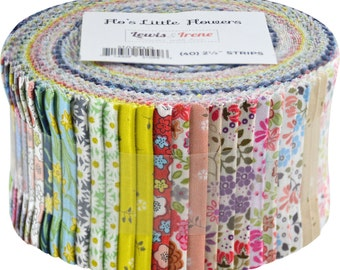 """Floral Precut Fabric Strips Flo's Little Flowers by Lewis & Irene Jelly Roll Sushi Roll - 40 strips 2.5"""" wide - 100% Cotton"""