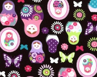 KOKKA Martyoshka Nesting Dolls Japanese Imported Fabric 100% Cotton Black Print Other Colors Available