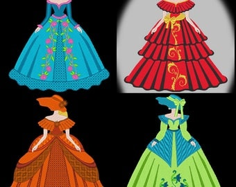 BEAUTIFUL FANCY LADIES (5inch) - 12 Machine Embroidery Designs Instant Download 5x7 hoop (AzEB)