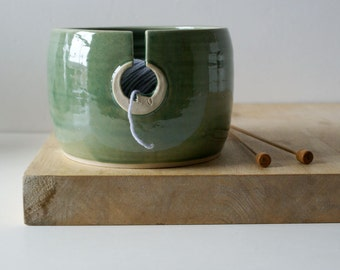 Ready to Ship - The sun and moon hand thrown pottery yarn bowl in forest green