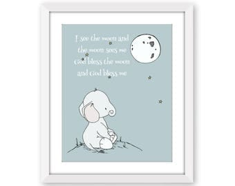 Elephant Nursery Art -- I See The Moon And The Moon Sees Me -- Nursery Quote -- Star Art --  Nursery Decor -- Children Art -- Kids Wall Art