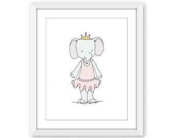 Elephant Nursery Art  -- Elephant Princess -- Girl Nursery Decor -- Pink Elephant Art -- Children Art Print, Kids Wall Art