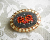 Vintage Black & Red Italian Micro Mosaic Flower Brooch Pin