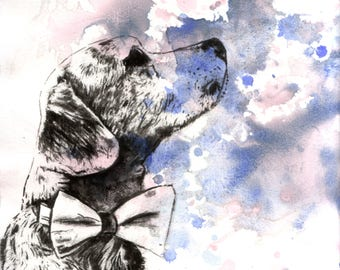 Custom Pet Portrait Painting Custom Dog Portrait Your Favorite Anything in a Splash of Color Dog Painting Print