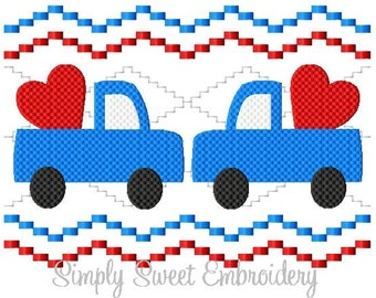 Faux Smocking Truck Heart Machine Embroidery Design