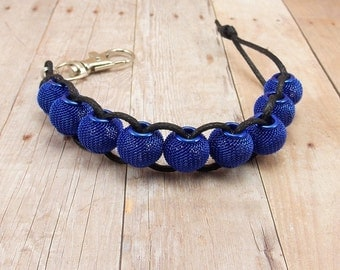 Golf Score or Stroke Counter - Clip - Cobalt Blue Mesh Beads with Black Cord - Non-Elastic - 9 Beads - Knitting Row Counter - Royal Blue