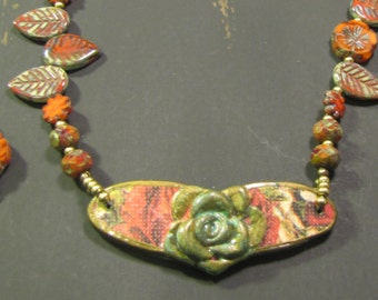 Green/Red Polymer Clay Focal with Czech Glass Beads
