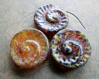 NEW GLASS FOSSILS . Czech Picasso Glass Beads . 17 mm (4 beads)