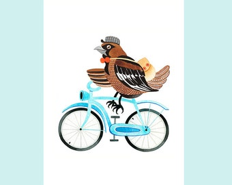 Bird on Bicycle Watercolor Art Print 12x16