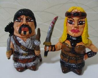 Dark-age Warriors Custom Character Salt and Pepper Shaker Set (Fullbody/Standard size)*Made To Order*