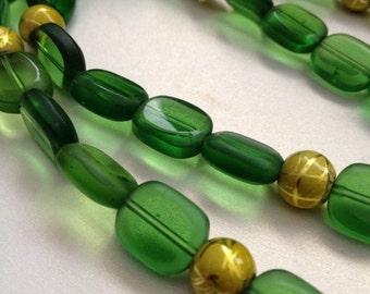 SALE Dark Green Glass Bead Necklace