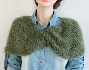 Knit Twisted Wrap, Shoulder Cover, Cozy Bolero Shawl, Poncho Shrug, Oil Green Infinity Scarf, Fall Winter Accessory, Christmas Gift Her