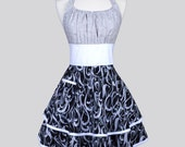 Flirty Chic Apron , Black White and Grey Swirls Two Layer Sexy Skirt with Grey and White Floral Swirl Top Rockabilly Sexy Retro Womens Apron