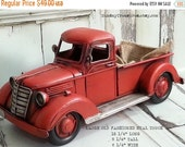 HOLIDAY SALE Large Old Fashioned Red Truck Christmas Home Decor / Farm Farmhouse Decor / Western / Primitive / Country Lumberjack Birthday