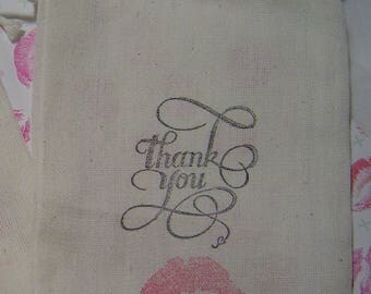 10 pc THANK YOU / Lips / Kiss Hand Stamped 4X6 Muslin Drawstring Favor Candy Bags Rustic Wedding Bride Groom 3 Day Ship