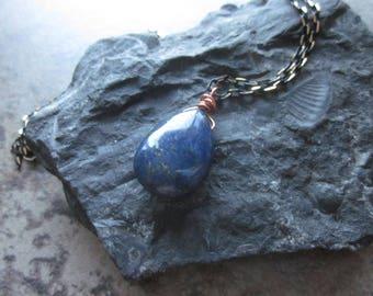 Lapis Lazuli Briolette Necklace, Cobalt Blue Stone Teardrop, Pyrite Inclusions, Mixed Metal Boho Layering Necklace, Throat & Third Eye Stone