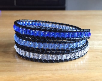 Blue Beaded Leather Wrap Bracelet
