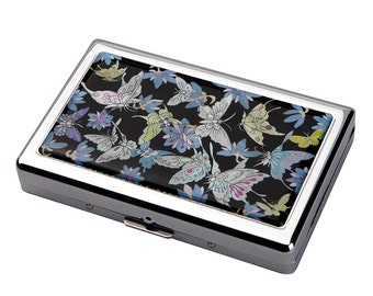 Mother of Pearl Blue Butterfly 100S King Size 16 Cigarette Engraved Metal RFID Blocking Credit Business Card US Bill Cash Holder Case Wallet