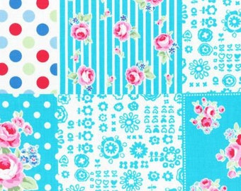 Flower Sugar Fall 2016 Sweet Carnival Collection Cotton Fabric by Lecien 31376-70  Blue Patchwork