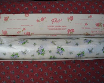 """Original Vintage Drawer Liners // Retro Box Padded Back // Floral Violets Purple Green // White PolyFab Scented Perfumed // 80"""" Length"""