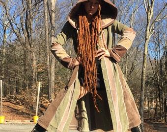 Earth wizard upcycled corduroy jacket hoodie ooak unique original