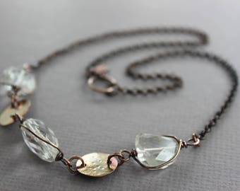 WHILE SUPPLIES LAST - Rock crystal nugget shape copper necklace - Beaded necklace - Crystal necklace - Link necklace
