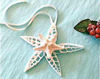 Beach Ornament - Seashell Christmas Ornament with Shells and Glittered Starfish - Gift Boxed  sea shells star fish