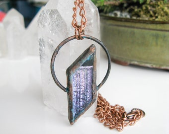 Lilac Fused Glass Pendant Electroformed Copper Necklace Modern Jewelry Large Glass Pendant Statement necklace OOAK - 2