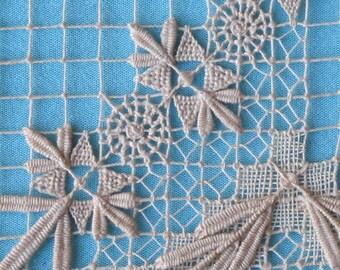 Interesting 1920's Doily Project Linen Darned Net on Small Frame Study Sample Frameable For Studio