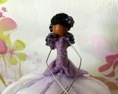 ON SALE Lavender Beaded Jacket Fairy, Poseable Doll, Fairy Tree Decoration, Gift Topper, Tree Ornament, Faerie Doll, AA Fairy, Victorian Fai