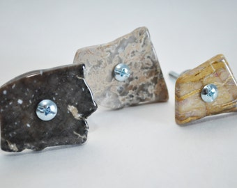 Tumbled Stone Slab Cabinet Knobs