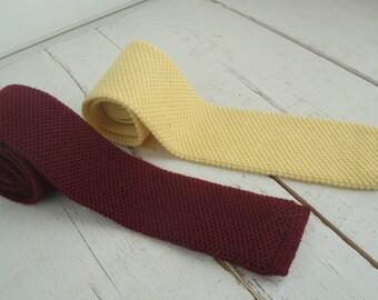Mens Vintage Skinny Necktie Yellow Burgundy