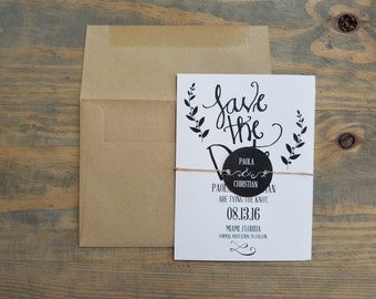 Save the Date Card, Rustic Save the Date, Laurel Save the Date, Simple Save the Date, Rustic Invitation, Rustic Wedding, Country Wedding