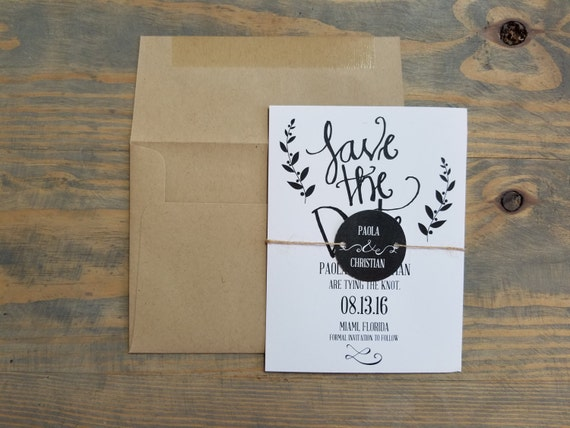 rustic save the date, calligraphy save the date, kraft save the date, twine