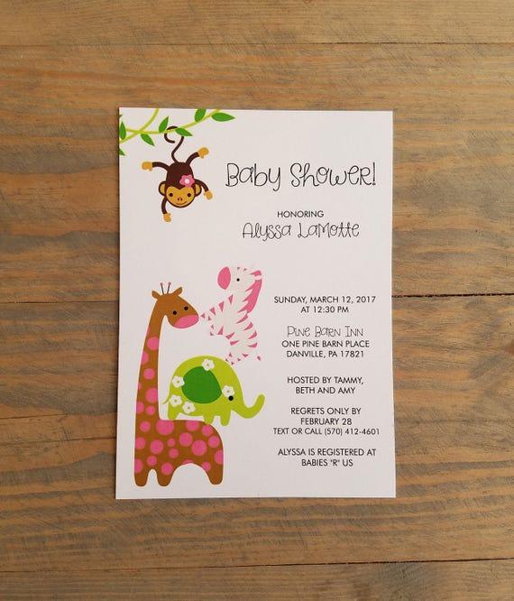 Printable Jungle Animal Baby Shower, jungle animal baby shower invitation, printable jungle animal invitation, jungle animal baby shower