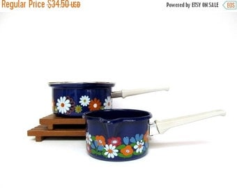 On Sale Vintage Cobalt Blue with Flowers Enamelware Butter Warmer or Sauce Pan