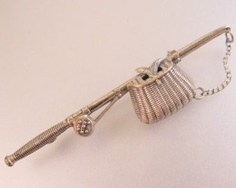 SALE Now On Ends 4/3/17 BEAU Sterling Silver Fishing Rod & Creel Bar Pin Brooch Vintage Jewelry Jewellery