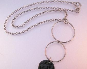 SALE ON Ends 4/30 Vintage Modernist Circle Copper Enamel Sterling Silver Necklace w/ Drop Pendant Jewelry Jewellery