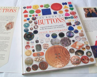 Button Book, 1992, hardbound, guide book, how to, Joyce Whittemore, with book jacket