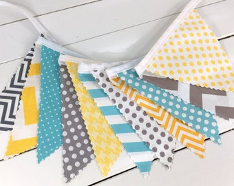 Bunting,Banner,Photography Prop,Flags,Nursery Decor,Birthday Decoration,Garland,Pennant,Home Decor,Gray,Yellow,Aqua Blue,Grey,Chevron