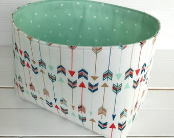 Storage Bin,Organizer Basket,Bin,Arrow Nursery Decor,Aztec,Boho,Fabric Basket Bin,Bohemian,Home Decor,Mint Green,Black,Arrows,Aztec