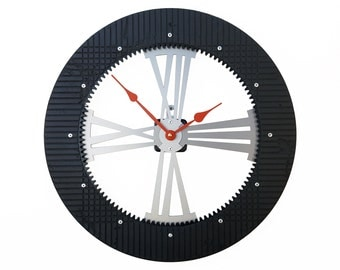 Gear II, Large Wall Clock, Unique Wall Clock, Modern Wall Clock, Steampunk Home, Industrial Art, Metal Decor, Big, Laser Cut, Gift for Guy