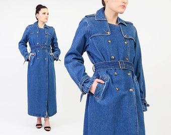 Vintage 90s Denim Trench Coat Blue Jean Duster Jacket - Minimalist Full Length Belted Spy Coat Long Maxi Jacket - Size Small Medium S M