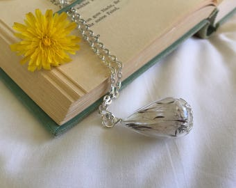 "1"" Teardrop Glass blown Dandelion Seed necklace, Blown Glass Necklace, Wishing Necklace, 24"" Silver Plated Chain"