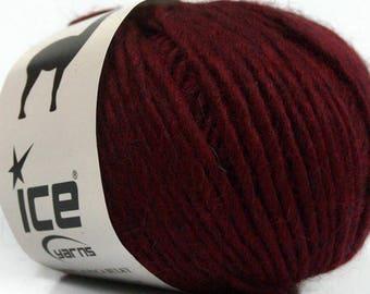 Peru Alpaca Bulky Yarn Burgundy -  #48699 Ice Merino Wool Alpaca Acrylic 50g 65y